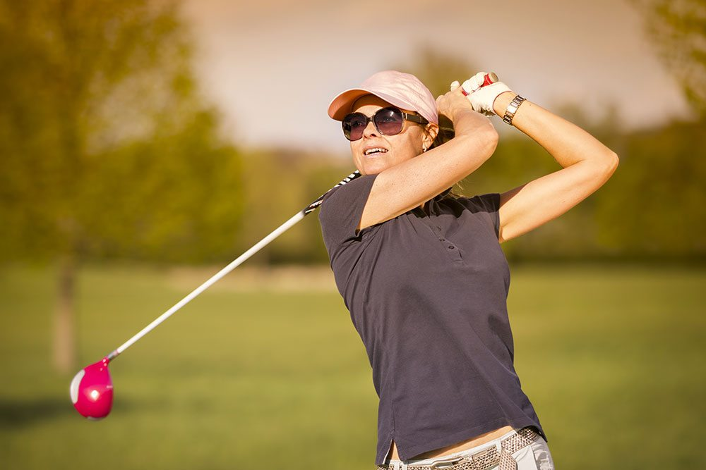 female golfer from front