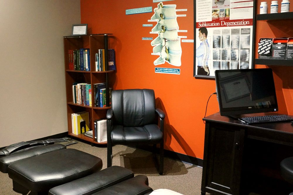 Orange patient room at Balanced Body Acupuncture & Chiropractic in Omaha, NE